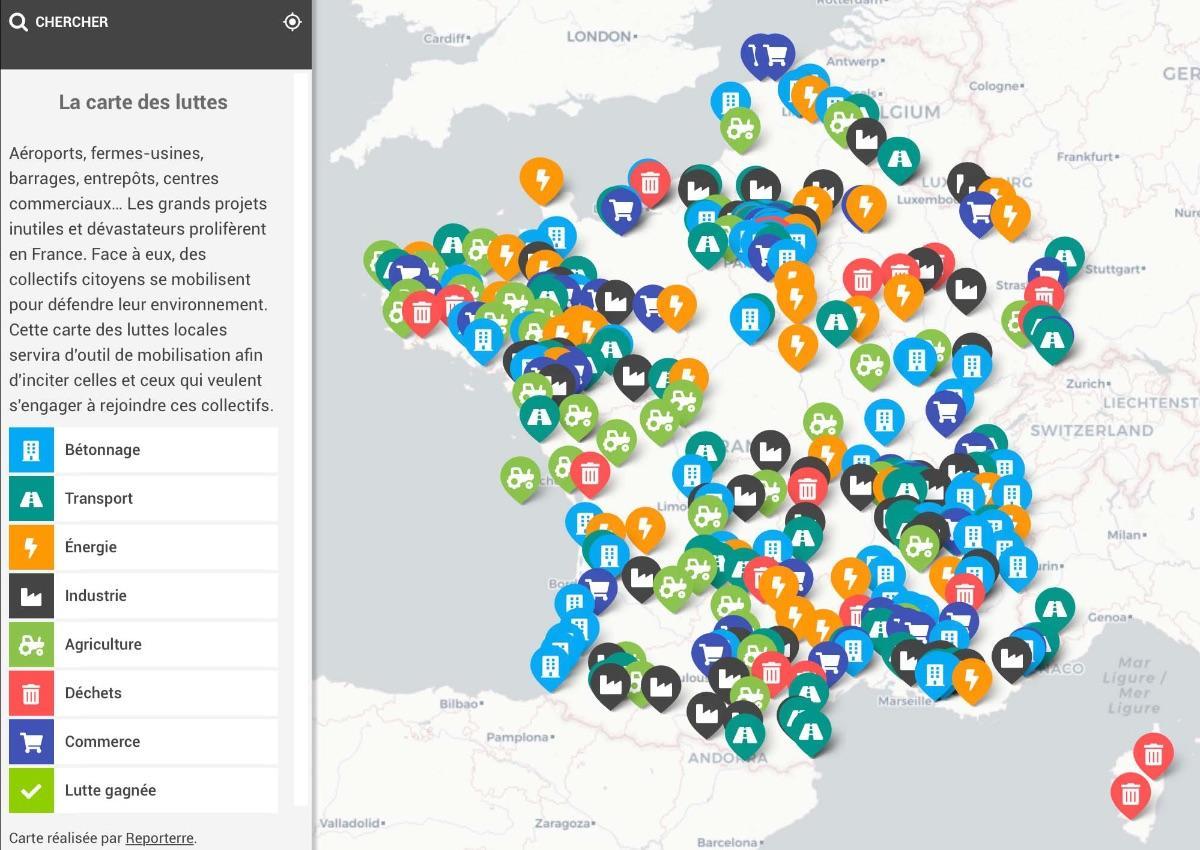 La carte des luttes contre les projets inutiles mise à jour